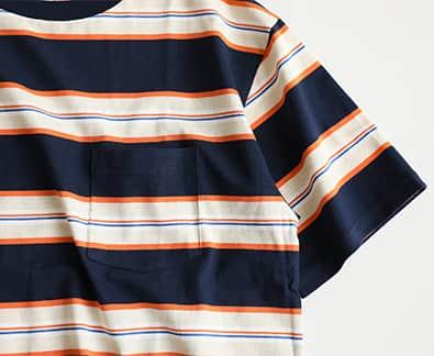 【汗染み防止】US COTTON ヘビーウェイト ボーダー Tシャツ