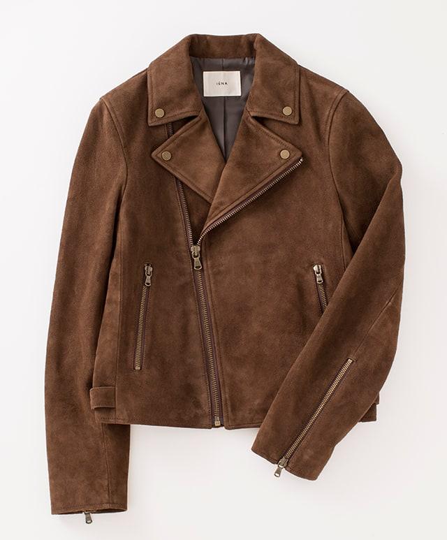 茶色 スエードライダースジャケット
