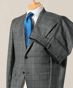 CFT 3ボタン スーツ サキソニーブラウンチェック