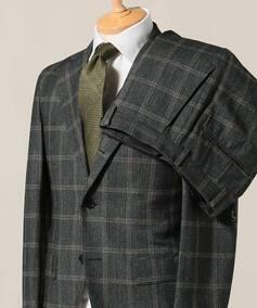 CFT 3ボタン スーツ サキソニー ベージュチェック