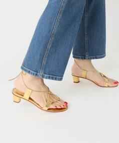 *MARTINIANO GOLD LACE UP SANDAL◆