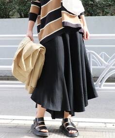 《WEB限定》JS+eレーヨン麻フレアスカート