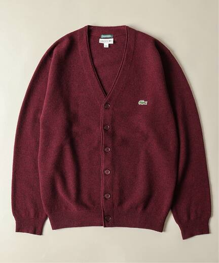 Wool Pique V-neck Cardigan 19080465000230: Bordeaux