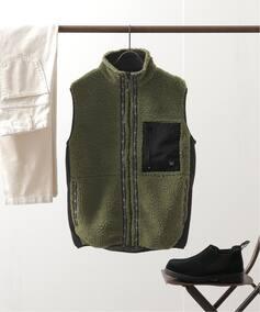 メンズ 【LAST CHANCE/ラストチャンス】 retro boa fleece vest ベーセーストック その他ブルゾン カーキ M( スタイルクルーズ B.C STOCK )