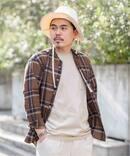 《予約》【INDIGO LINEN / インディゴ リネン】 ロングスリーブ ノーカラー シャツ