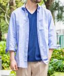 コットン/リネン 7分袖 カッタウェイシャツ